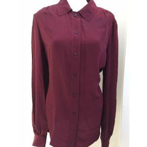 Tory Burch Angelique Long Sleeve Silk Blouse, Plum